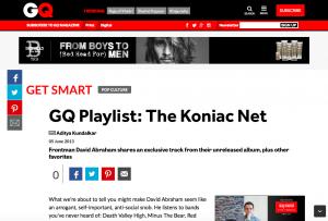GQ誌による、The Koniac Netのフロントマン、デービッド・アブラハムへのインタビュー記事